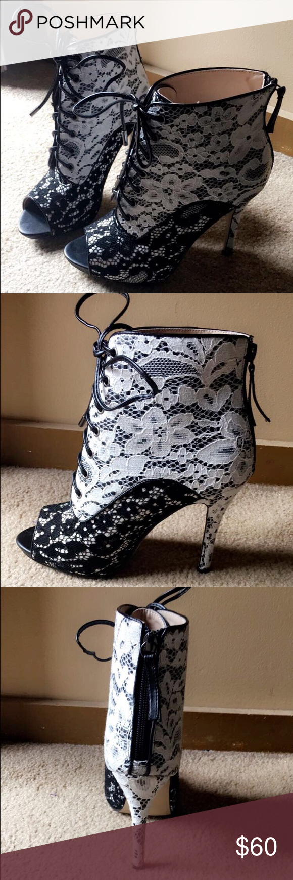 Black N' White Peep Toe Booties Ankle length Black n' White Lace Toe Booties with zipper in the back. Real cute and chic for any occasion. Shoe Dazzle Shoes Lace Up Boots
