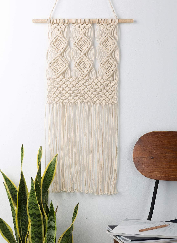 Handmade Boho Woven Macrame Wall Hanging Boho Chic Decor for Living Room Bedroom Apartment Dorm Room Decoration Bohemian Tapestry 16 W x 31 L