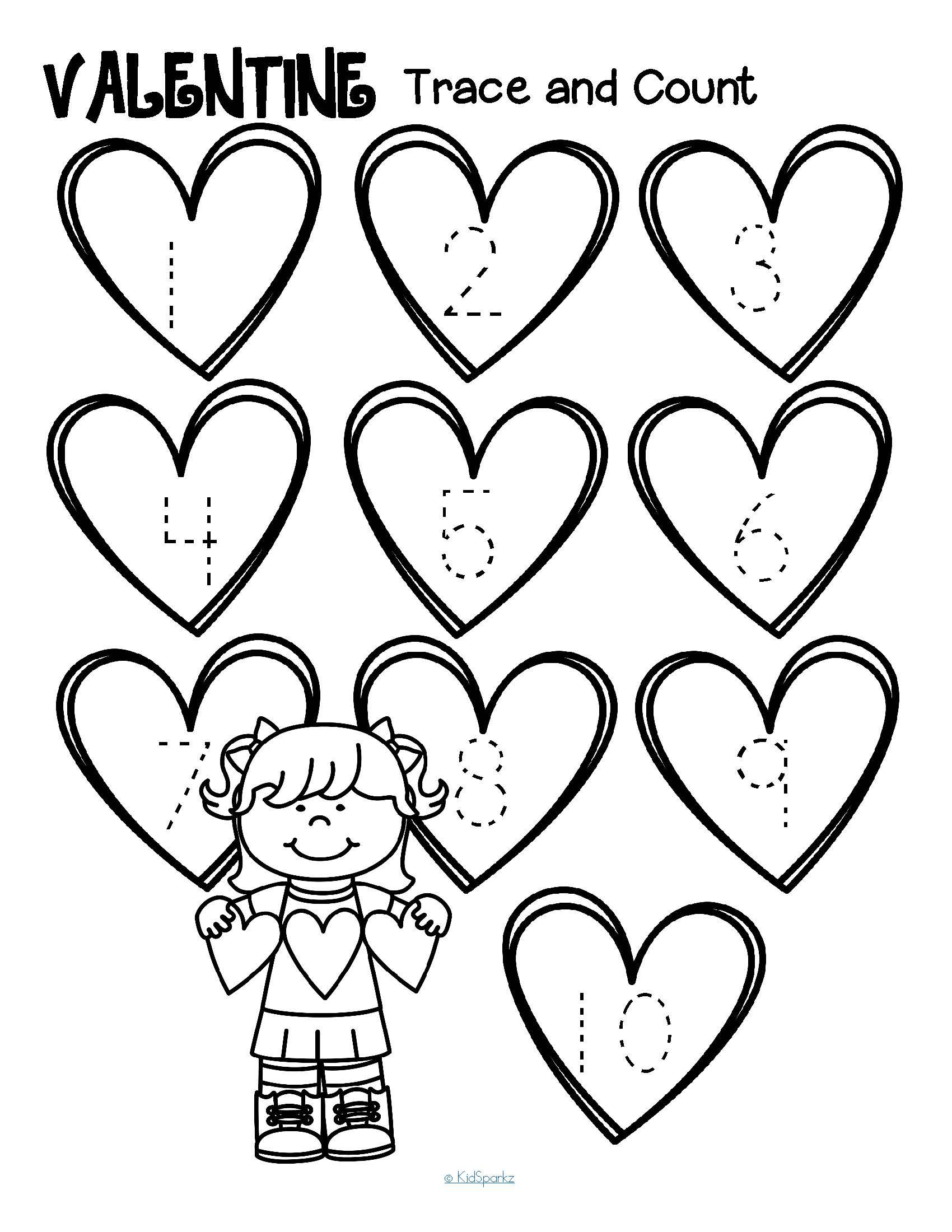 FREE Valentine\'s Day tracing numbers and counting 1-10. 3 pages ...