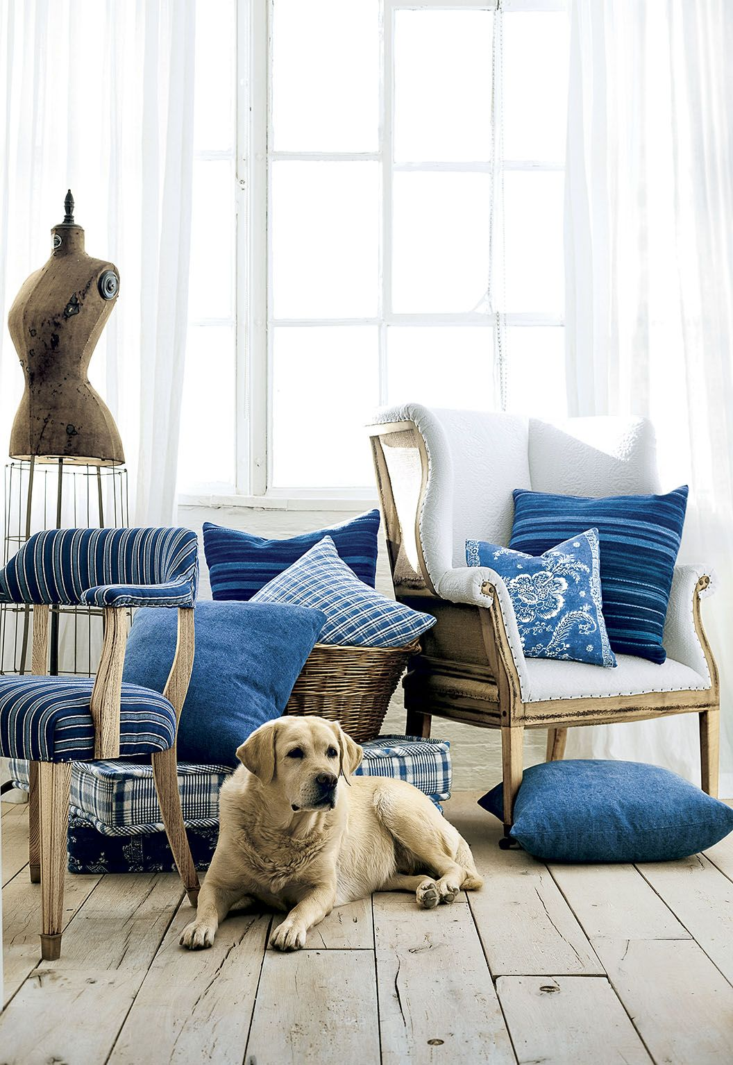 Ralph Lauren Home Elizabeth Street fabrics: Ticking stripes, patchworks and prints in a palette of washed blues and antique whites.