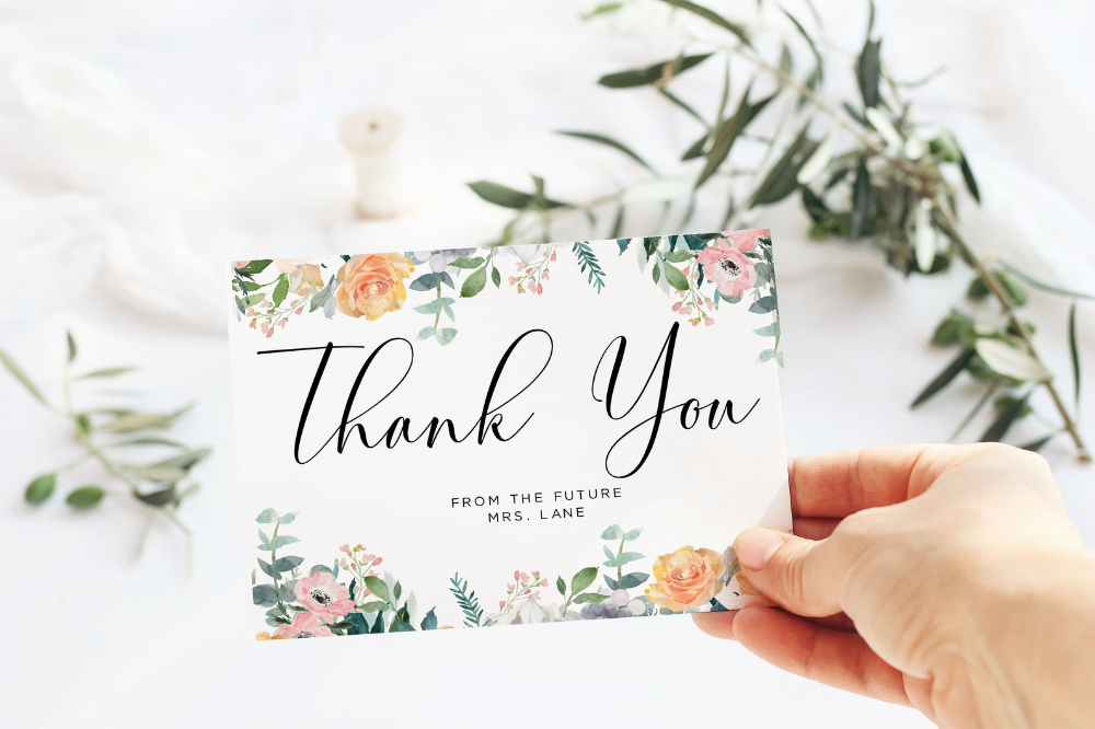Floral Thank You Card Template Editable Template Printable Etsy Printable Thank You Cards Thank You Card Template Your Cards