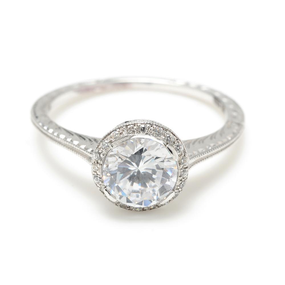 Greenwich Jewelers | Beverley K Delicate Milgrain Round Diamond Engagement Ring
