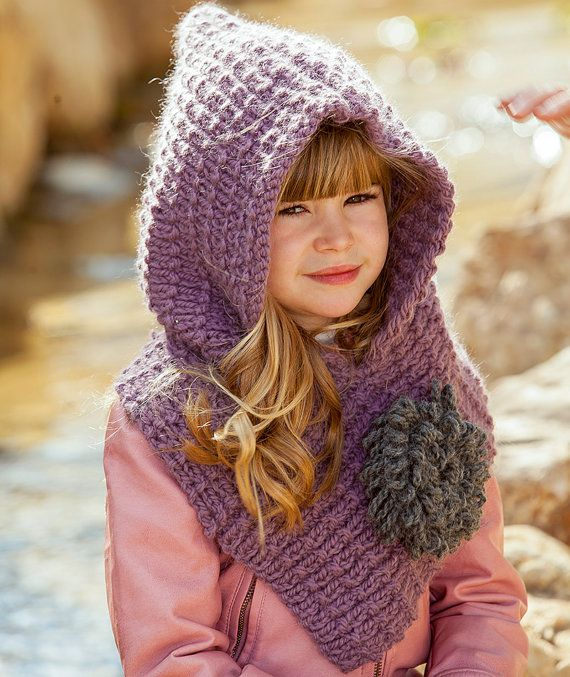 Knitting PATTERN Hood with flower chrysanthemum, knitted ...