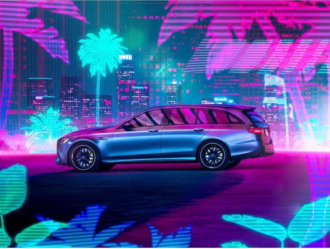 This Mercedes ad in 2020 Neon car, Retro waves, New e class