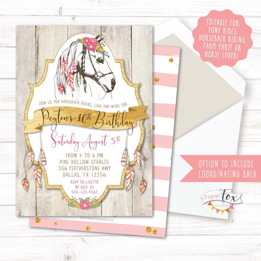 Horse Birthday Invitation, Cowgirl Birthday Invitation, Boho ...