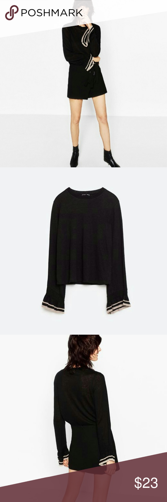 ZARA Frilled Sleeve Soft Thin Linen Black Sweater Brand new with ...
