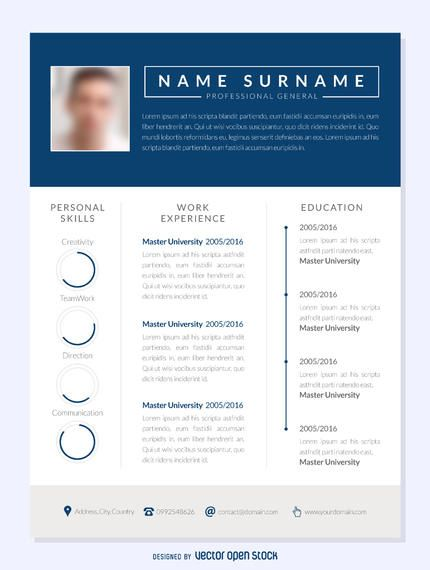 Modern CV template design in blue and white Designed in three - contact details template
