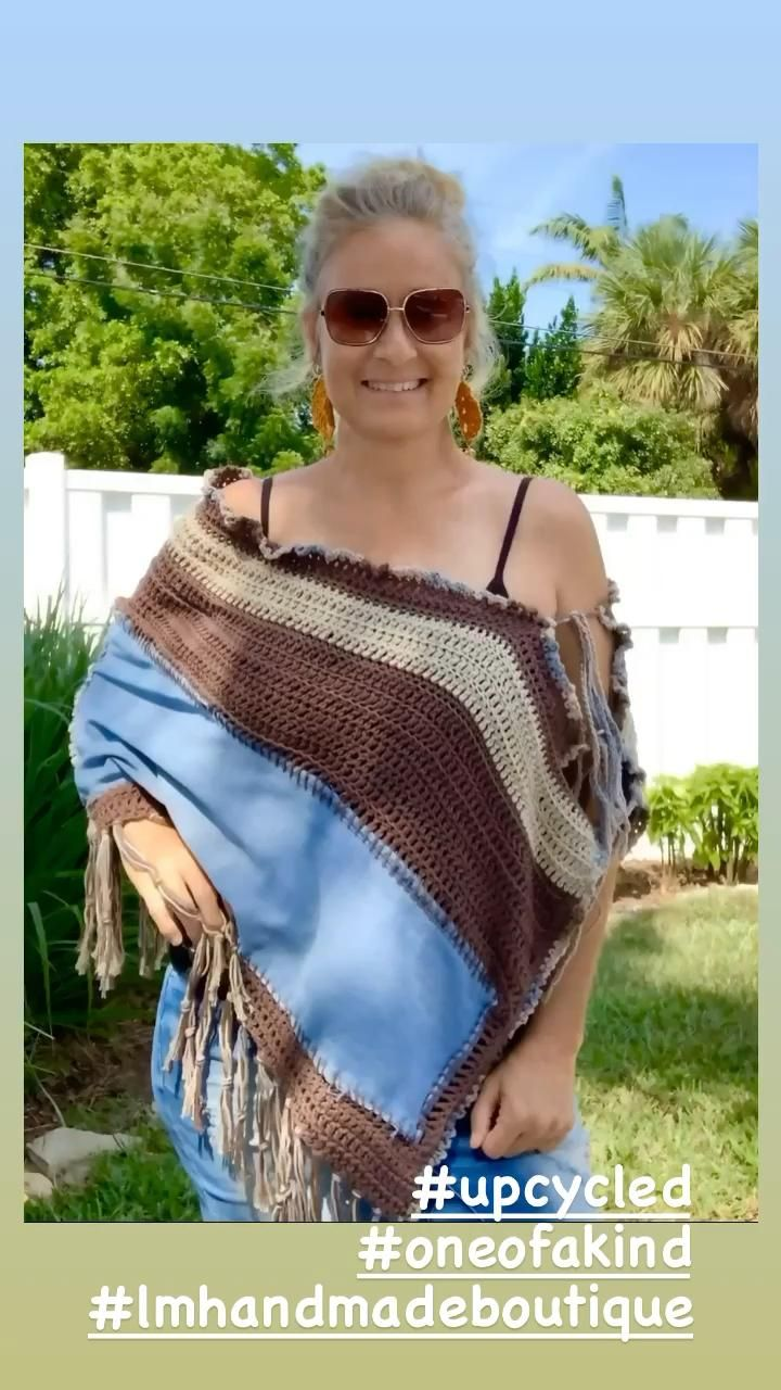 READY TO SHIP! With a cool bohemian vibe, this upcycled poncho adds effortless boho hippie style to any outfit. Dressed up or down, this shoulder baring poncho gives you a sexy look while covering you in all the right places. I crochet this poncho in a patchwork design adding upcycled denim for a super cool boho hippie design. You are truly getting a one of a top!#bohostyle #hippiestyle #bohofasion