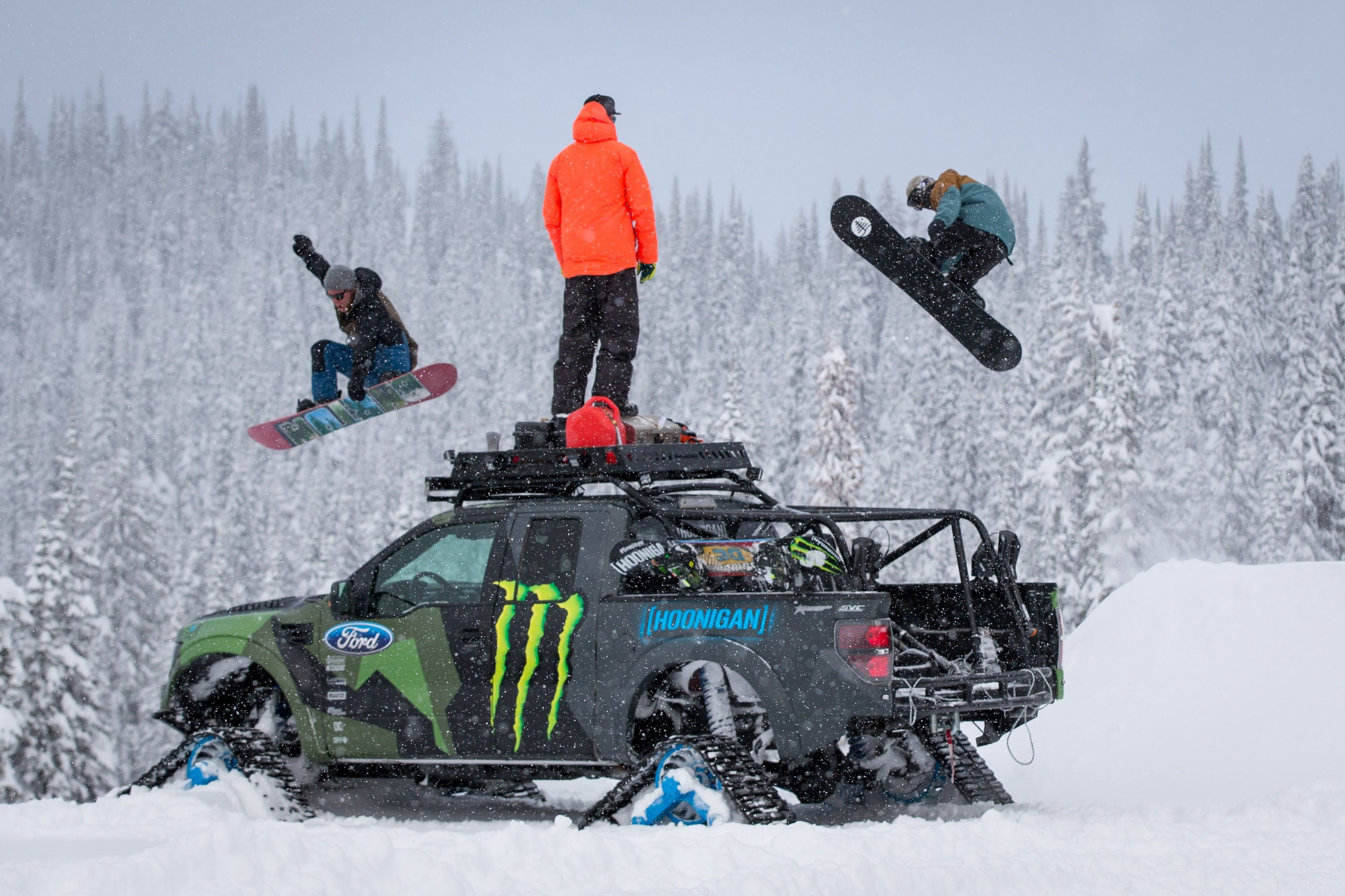 Ken Block takes his Ford F 150 RaptorTRAX out to the Baldface Lodge
