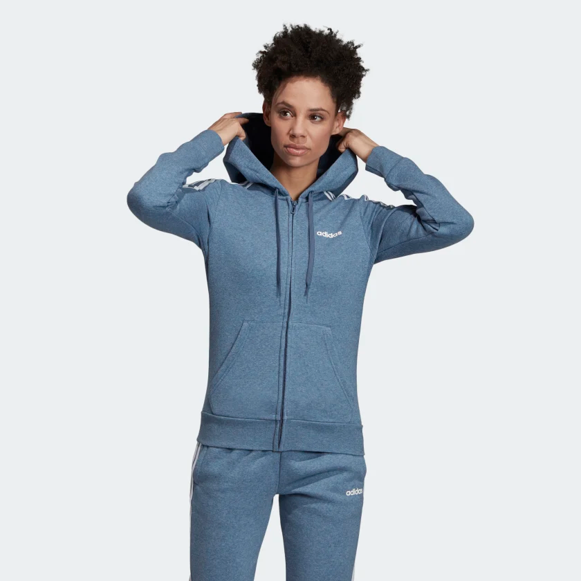 Essentials 3 Stripes Fleece Hoodie | Adidas women, Hooded