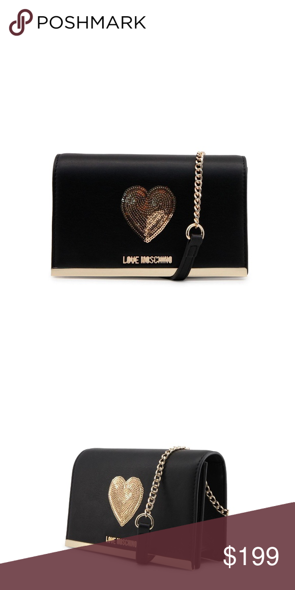 3ee576092fc2 Love Moschino Womens Black and Gold Clutch Gender Woman Type Clutch  Material synthetic leather Main fastening magnetic Handles 1 handle  Shoulder ...