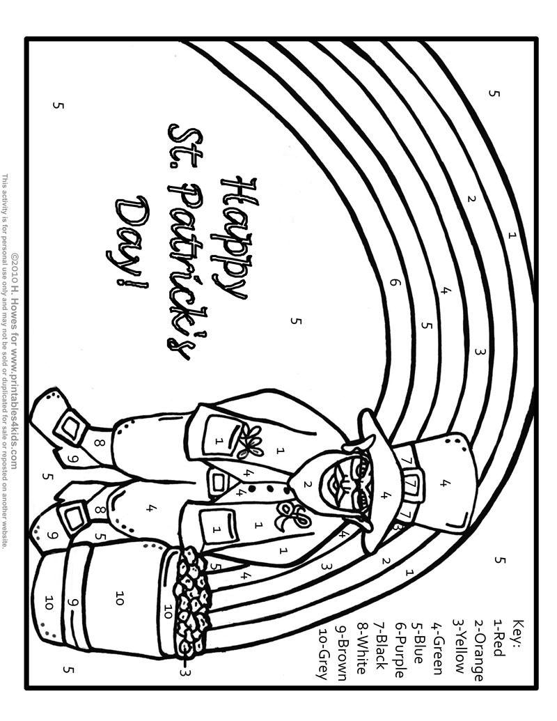 Leprechaun Color By Number St Patrick Coloring Pages Leprechaun