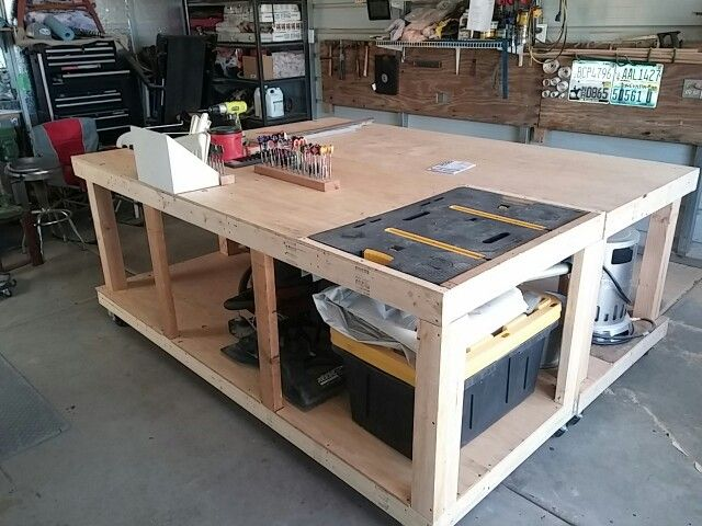 Two Workbenches Hinged Together For Work Area Or Layout Table