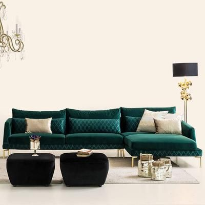 Anzio Corner Sofa Set Anzeo028 Captown C 45 In 2019 Corner Sofa Set Corner Sofa Living Room Green Velvet Sofa
