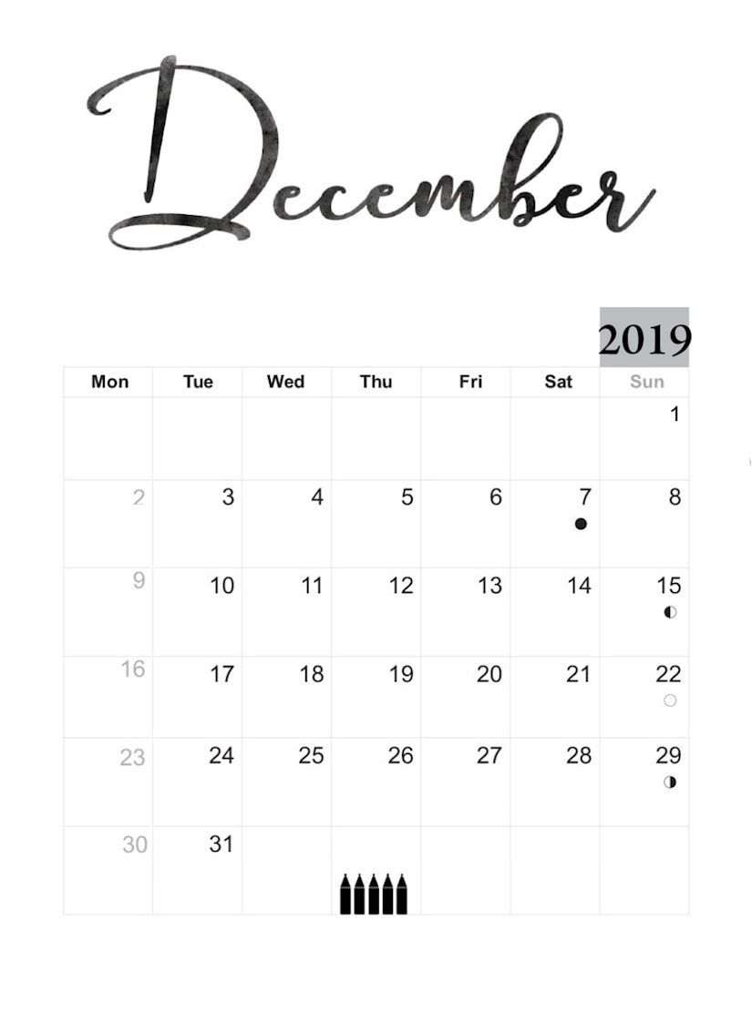 30 Free Printable December Calendars For Your Office Shablony