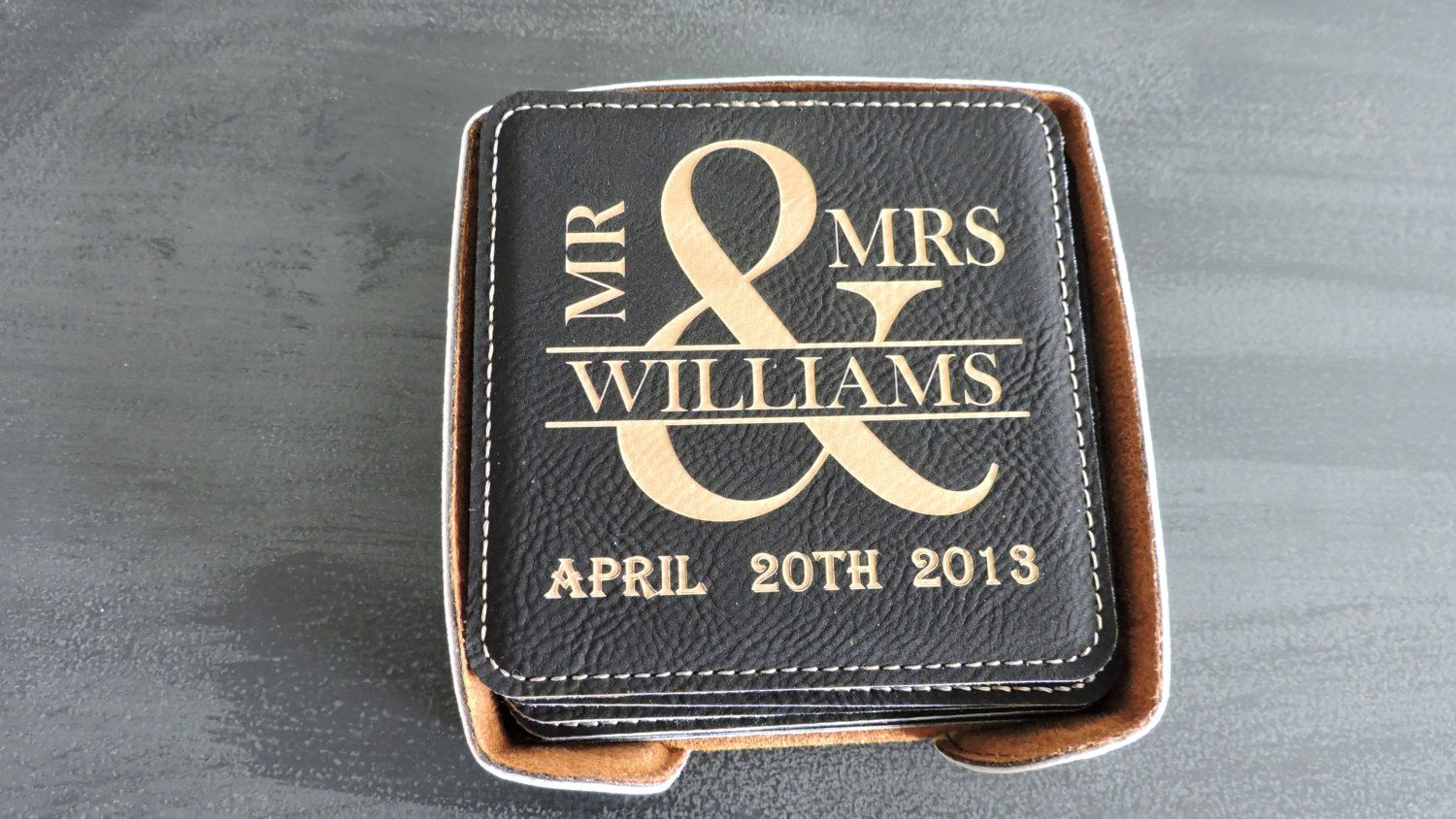 9th Wedding Anniversary Gift Leather: Mr & Mrs Gift, Leather Coaster Set Of 6 With Holder, Great