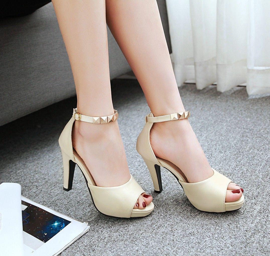 Womens Ankle Straps Peep Toe Platform