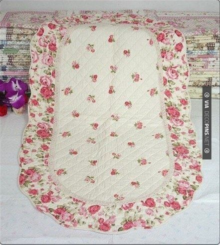 Shabby And Vintage Judy Rose Quilted Floor Rug Bath Mat 20 X50 By