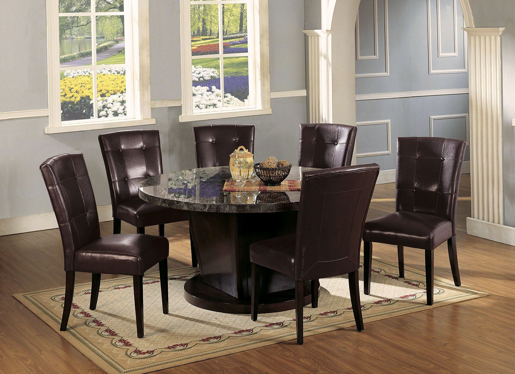 AC07003 DANVILLE 7PCS BLACK MARBLE TOP WALNUT DINING SET