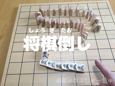 将棋の駒を立てて並べて倒して遊びます。ドミノ将棋。ドミノ倒し。動画 ...