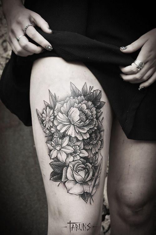 Flower Bouquet By Alex Tabuns Tattoo Artist Saint Petersburgh