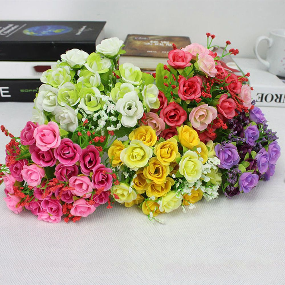 Us Stock 21pcs Artificial Fake Silk Flower Home Party Wedding