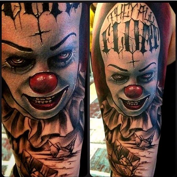 it pennywise clown stephen king horror tattoo horrors movies tattoos ideas pinterest. Black Bedroom Furniture Sets. Home Design Ideas