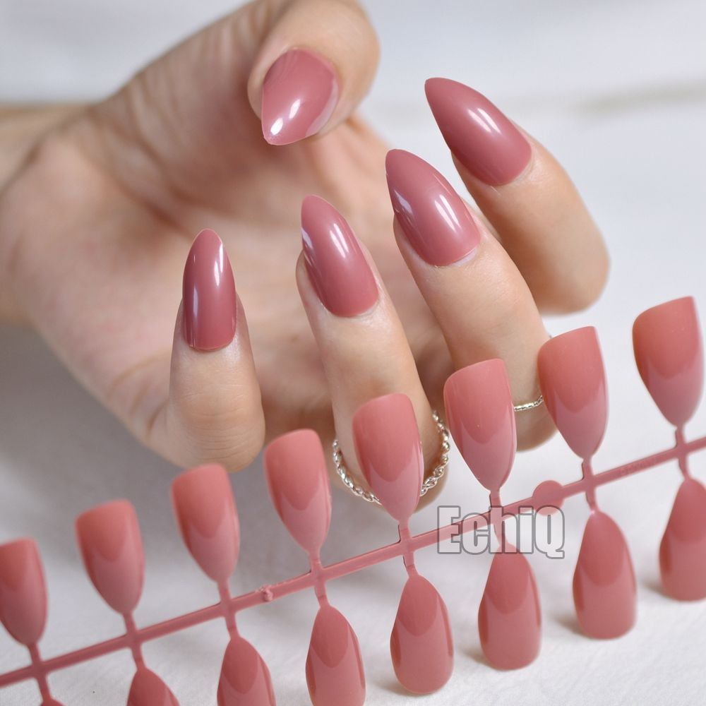 Dusty Cedar Fashion Stiletto False Nails Pointed Sharp Candy Red ...