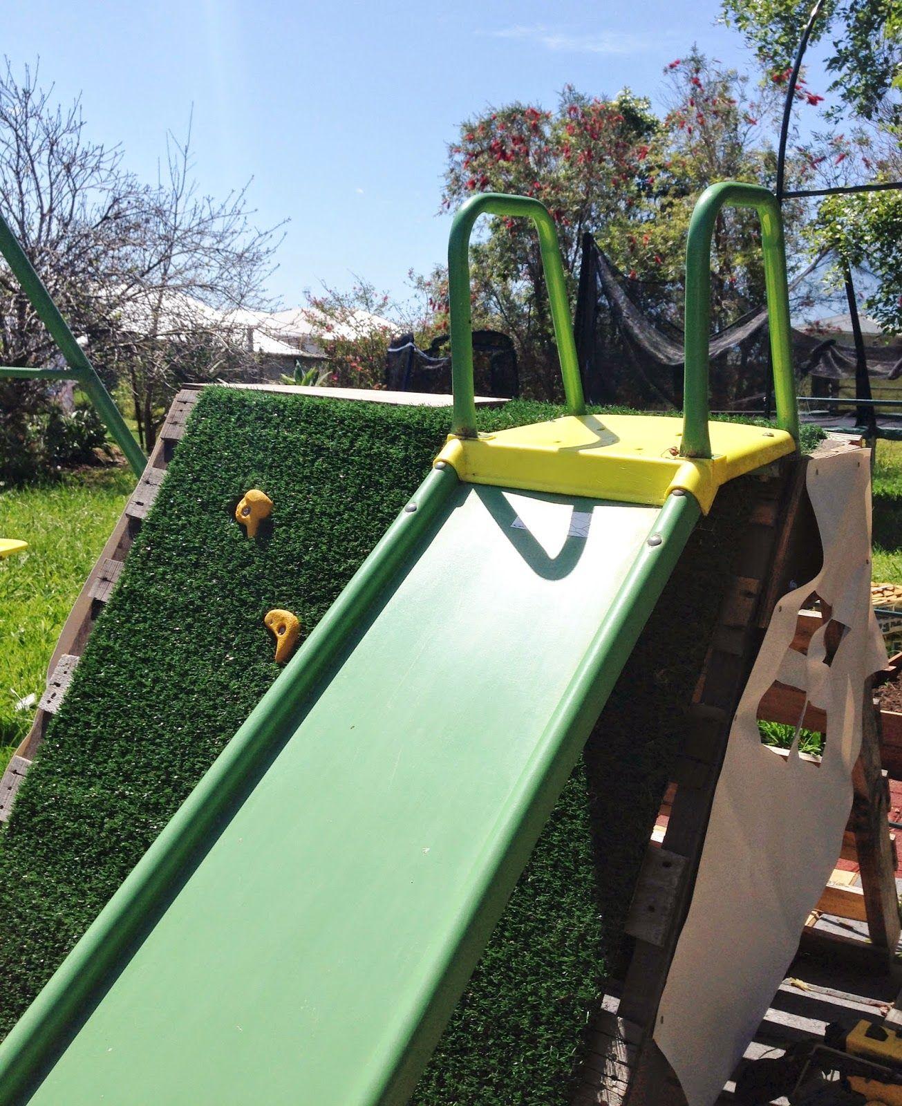 Diy pallet rockwall climbing frame slide with images