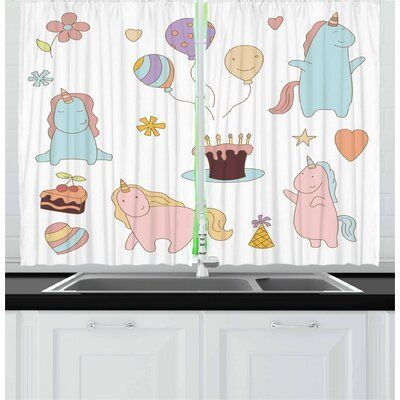 East Urban Home Unicorn Party 2 Piece Kitchen Curtain Set Kitchen Curtain Sets Kitchen Curtains East Urban Home