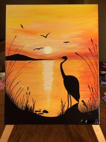 Lukisan Cat Air : lukisan, Sunset, Painting, Lukisan, Seni,
