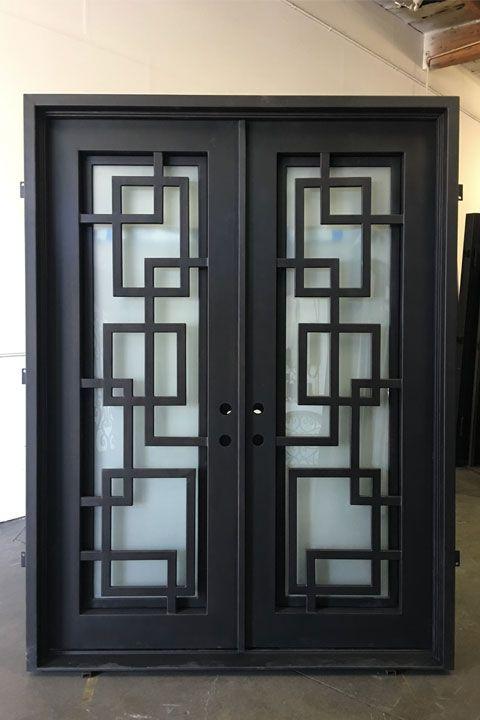 Marcelle Double Iron Doors 72 X 96 Right Hand In Swing In 2020 Steel Door Design Window Grill Design Metal Doors Design
