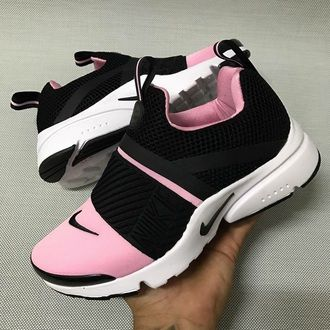Nike pink trendy girls woman's shoes cute pink white and black running  athletic shoe strappy strap