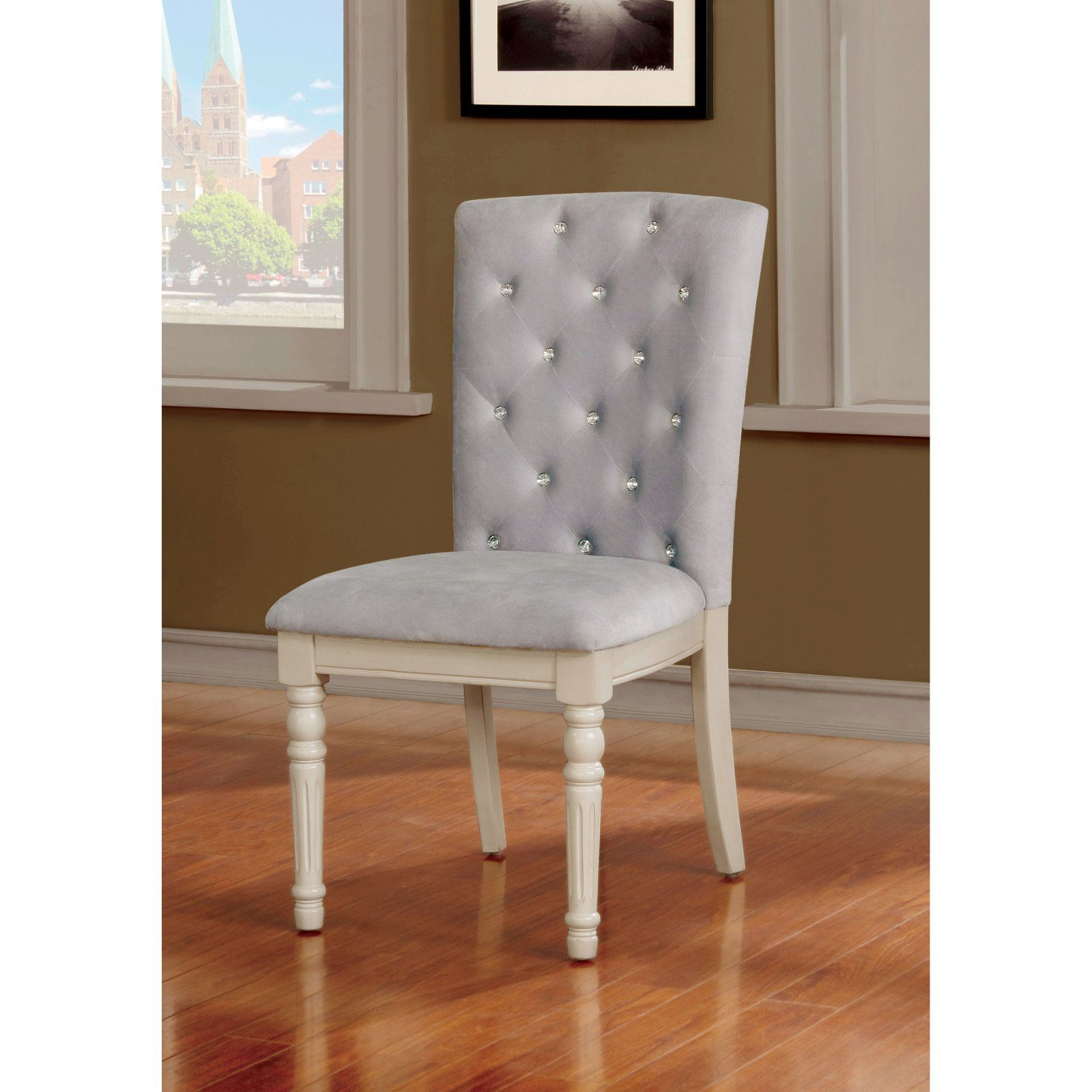 Furniture Of America Lombard Vintage Tufted Parsons Dining Chair Set Of 2 Parsons Dining Chairs Upholstered Dining Chairs