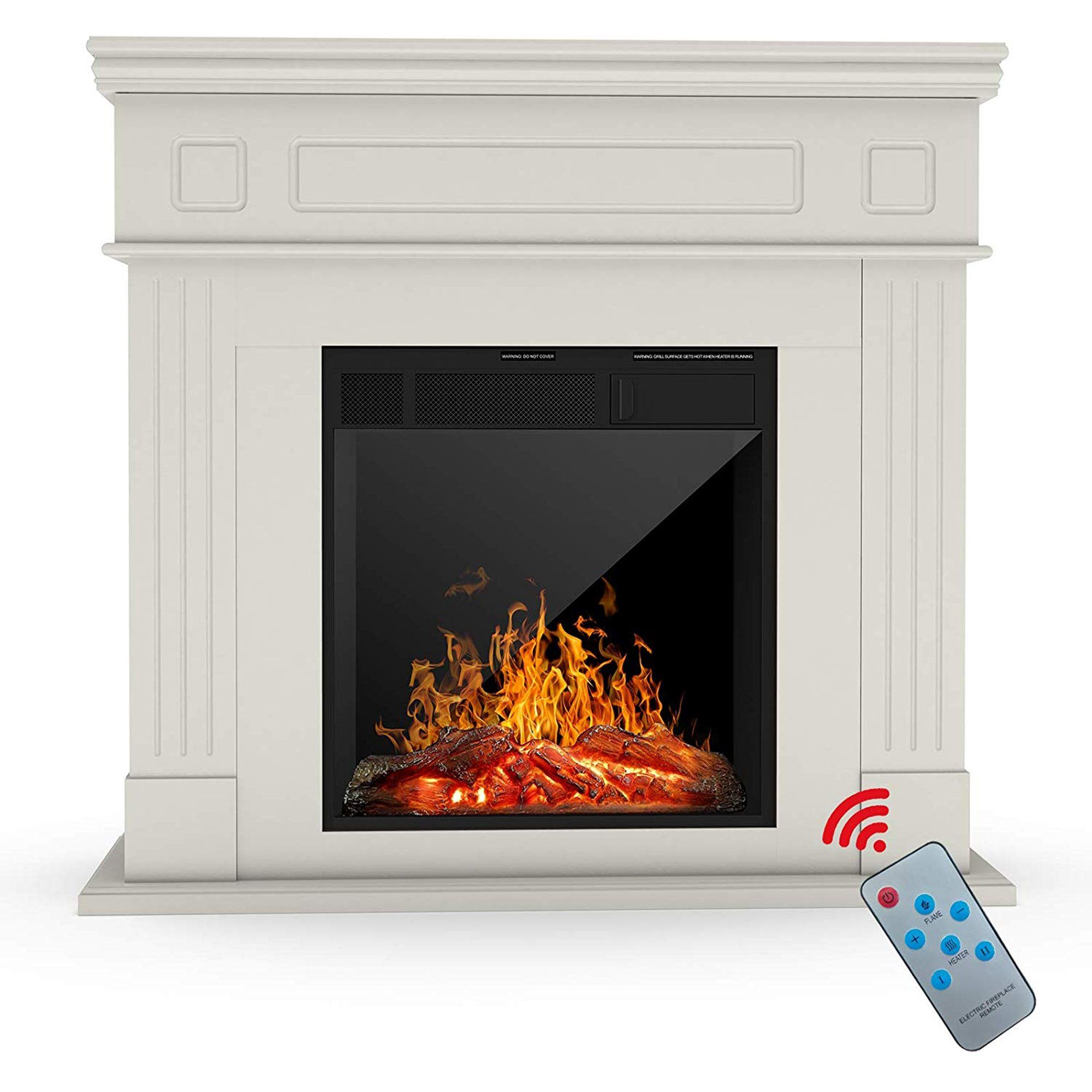 Kuppet Electric Fireplace Freestanding Electric Fireplace Mantel Package Heater Log Hearth With Realistic Flam Electric Fireplace Fireplace Mantels Fireplace