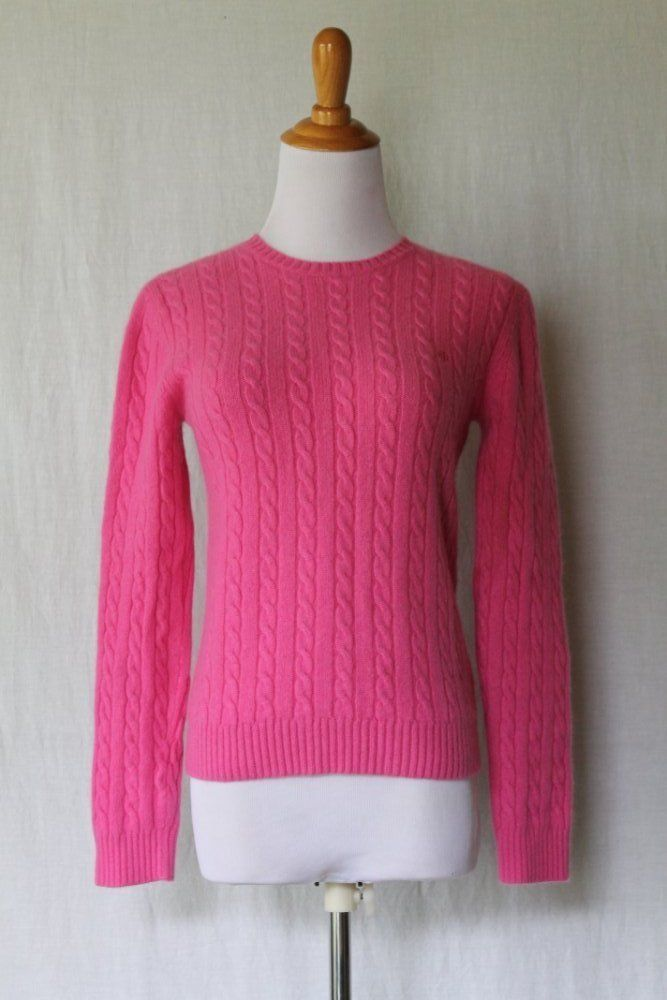 Lauren by Ralph Lauren Bright knit 2 ply Cableknit 100% Cashmere ...