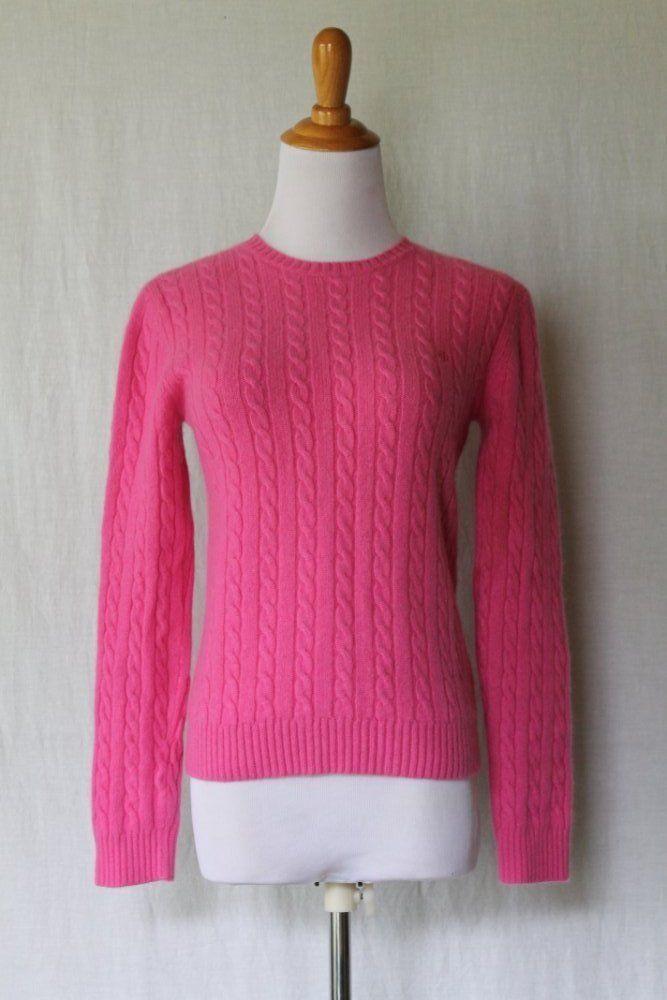 Lauren by Ralph Lauren Bright knit 2 ply Cableknit 100% Cashmere ...