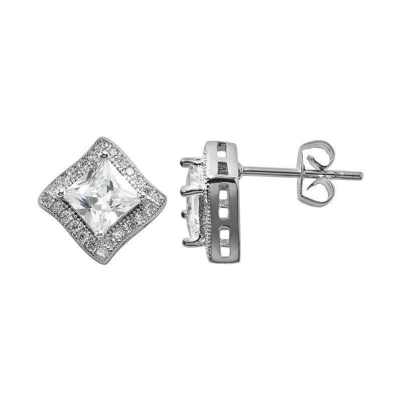 The Silver Lining Silver Plated Cubic Zirconia Curved Square Frame Stud Earrings, Women's, White
