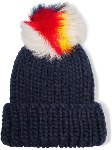 f4d9e715240 Eugenia Kim - Rain Faux Fur-trimmed Wool Beanie - Midnight blue ...