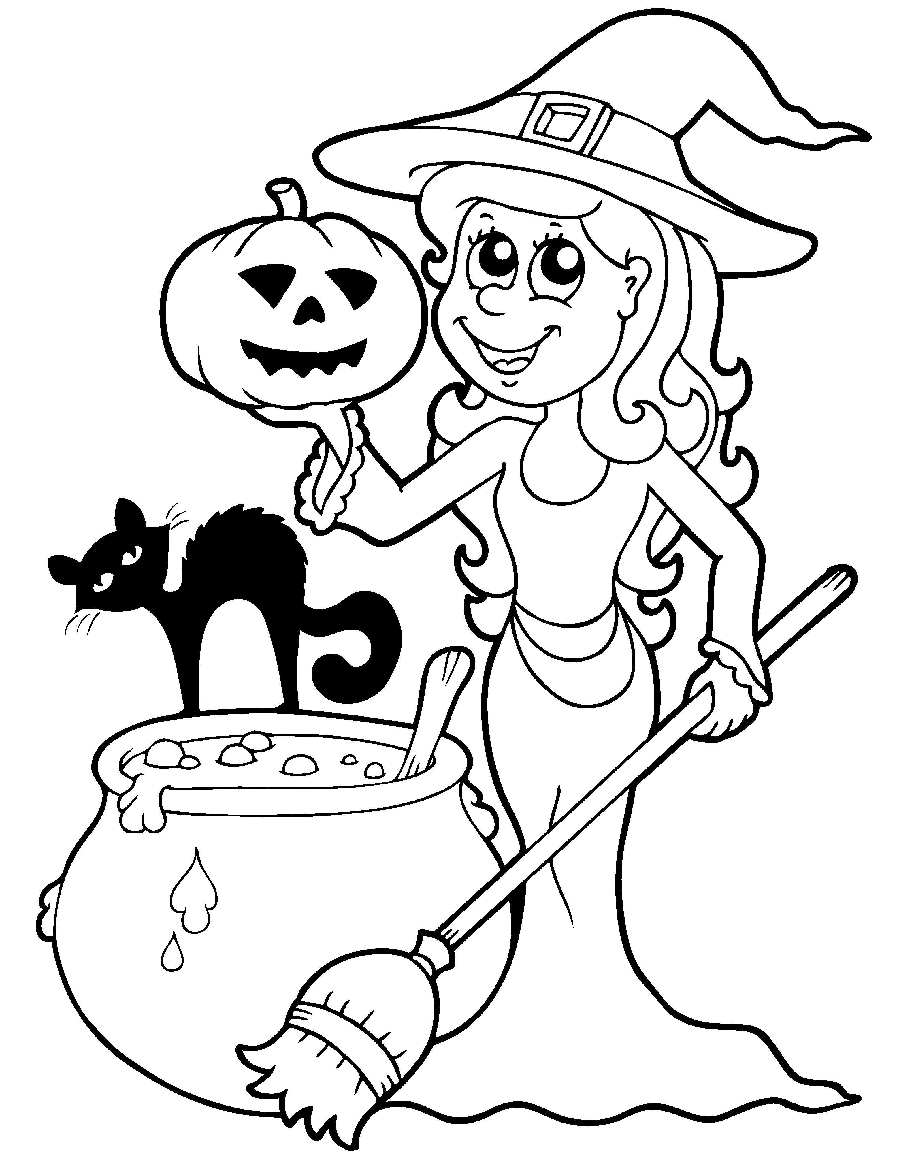 Een Leuke Kleurplaat Voor Halloween Kijk Op De Surfsleutel Voor De Printversie Halloween Tekeningen Halloween Foto S Knutselen Met Halloween