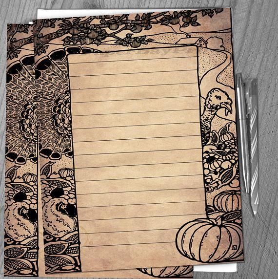 Printable Writing Paper Vintage Thanksgiving Border Old All - printable writing paper with border