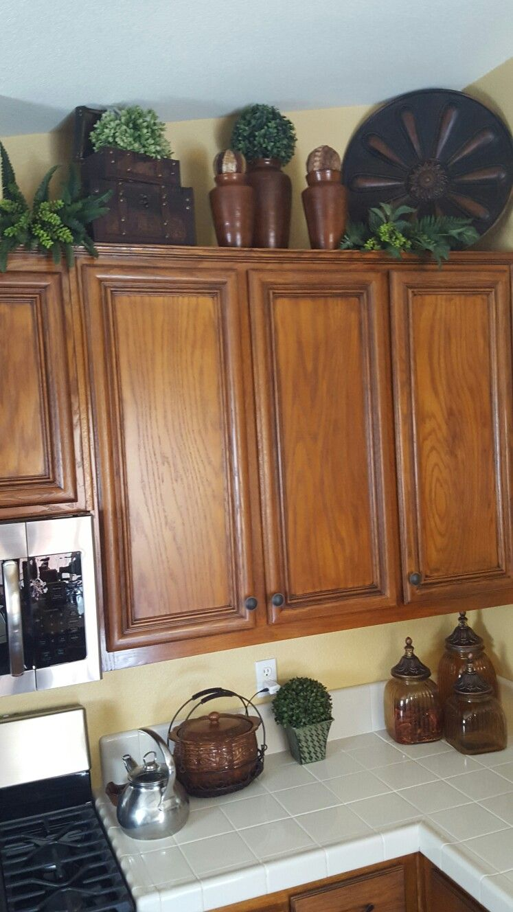 Tuscan Decor Decorating Above Kitchen Cabinets Tuscan Decorating Kitchen Kitchen Cabinets Decor