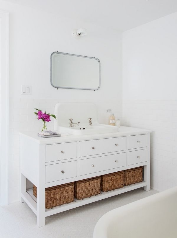 White Bathroom Vanity With Storage Drawers And Open Shelf Furniture Ideas