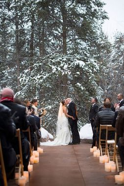 There's no more perfect backdrop for the uniting of two souls than a grove of fir trees -- evergreen, ever strong, and ever sharing in the same sun and rain. What a fitting illustration of a love that will stand the test of time.