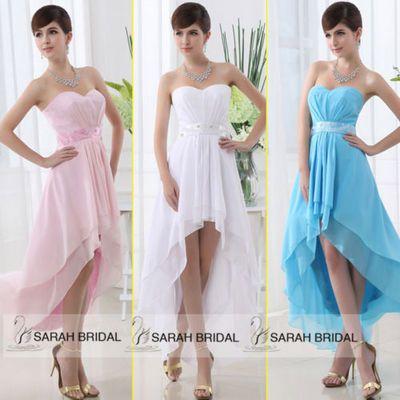 Pink/White/Blue Hi-lo Chiffon Prom Dress, Cocktail Dress, Ball Gown