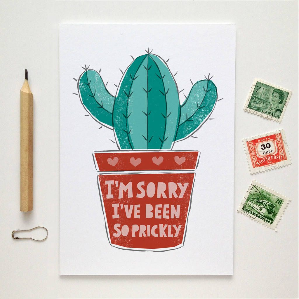 Im sorry cactus card im sorry cards sorry cards