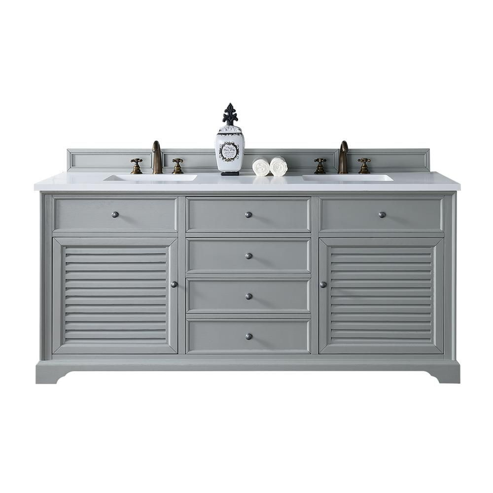 James Martin Signature Vanities Savannah 72 in. W Double Vanity in Urban Gray with Quartz Vanity Top in White with White Basin