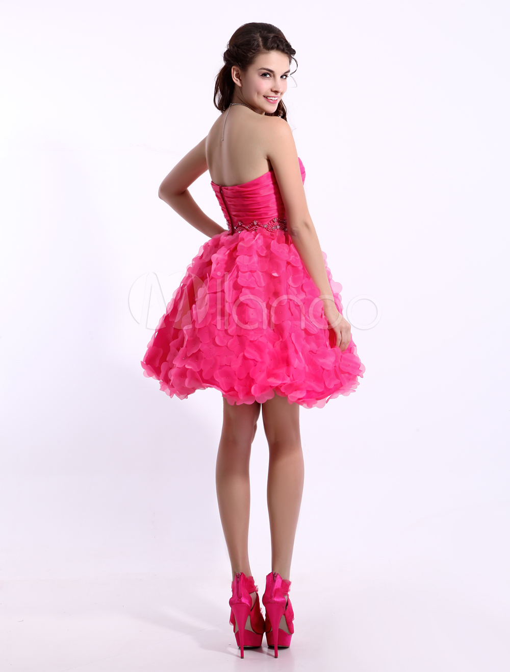 bba0bbd487c Hot Pink Cocktail Dress Organza 3D Flowers Beaded Prom Dress Strapless  Sleeveless A Line Short Party Dress Milanoo  Organza