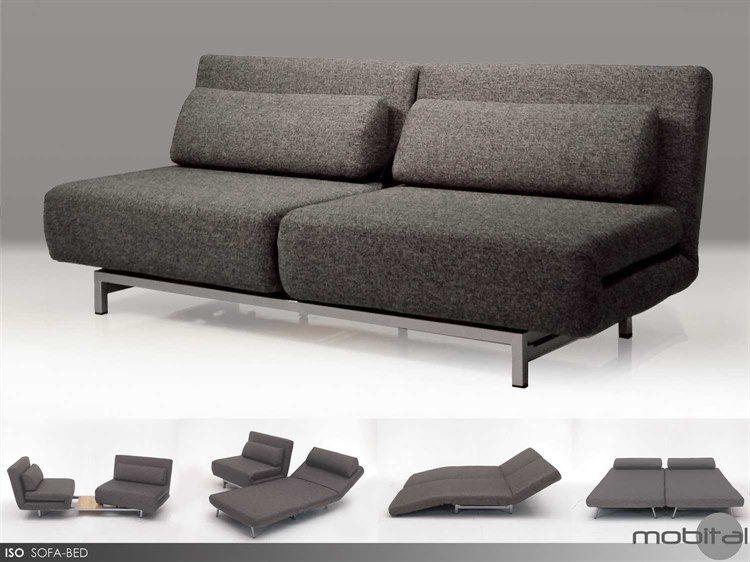 Mobital Iso Charcoal Tweed Double Sofa Bed With 2 Single