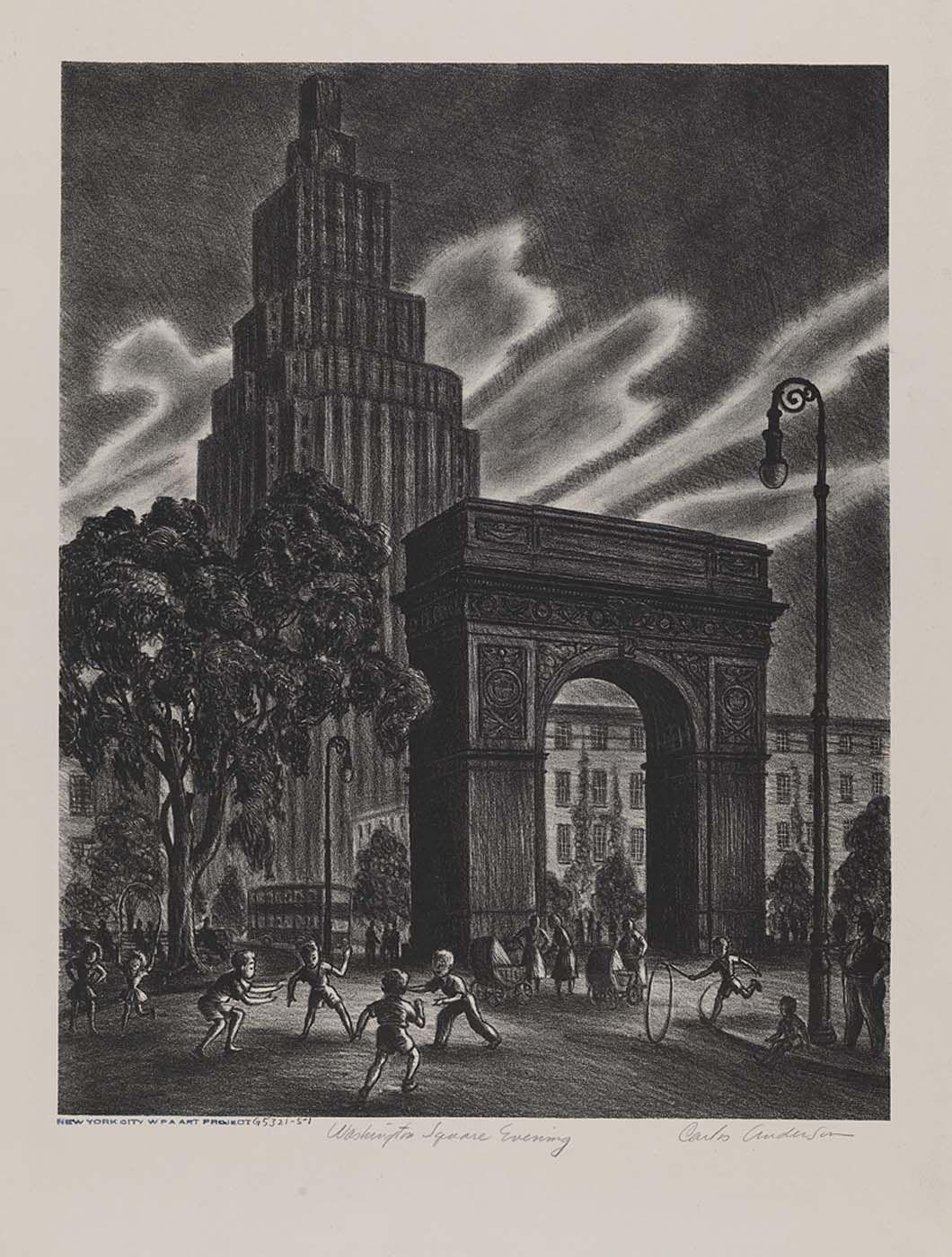 Washington Square Evening, n.d., Carlos Anderson - Smithsonian American Art Museum